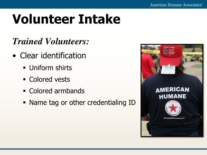 Volunteer Intake