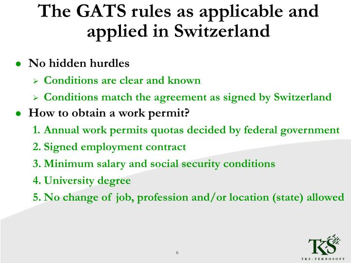 The GATS rules as applicable and applied in Switzerland