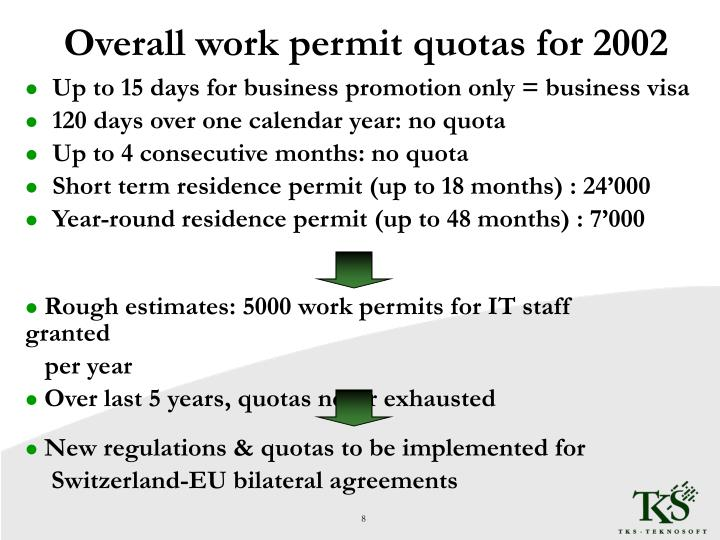 Overall work permit quotas for 2002