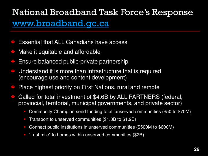 National Broadband Task Force's Response