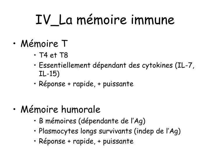 IV_La mémoire immune