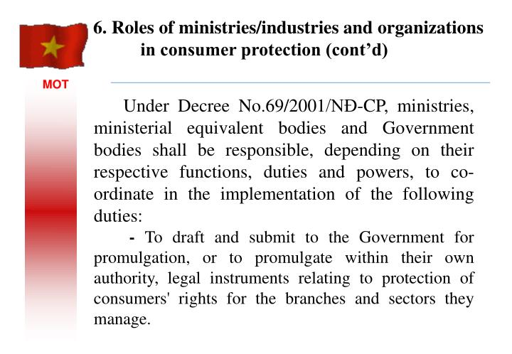 Under Decree No.69/2001/NĐ-CP, ministries, ministerial equivalent bodies