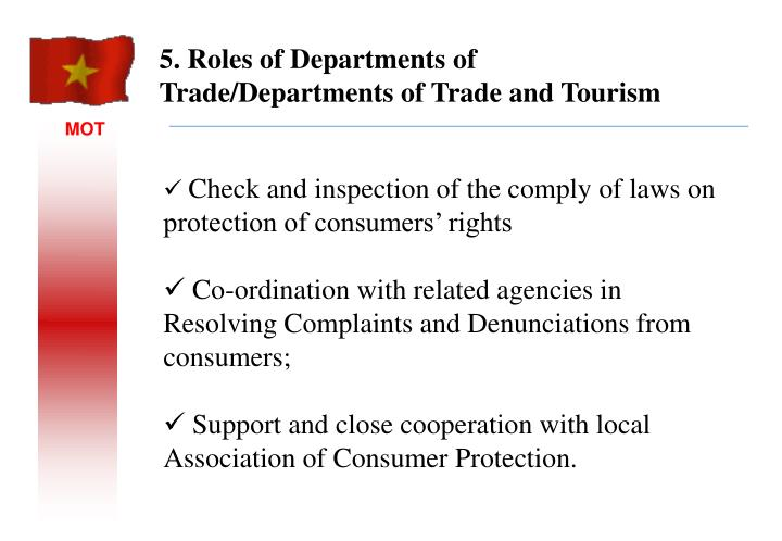 5. Roles of Departments of Trade/Departments of Trade and Tourism