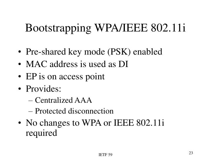 Bootstrapping WPA/IEEE 802.11i