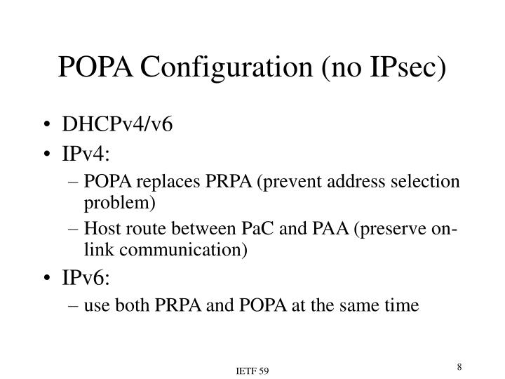 POPA Configuration (no IPsec)