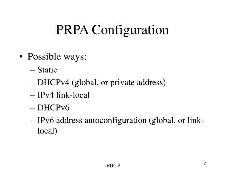 PRPA Configuration