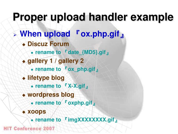 Proper upload handler example