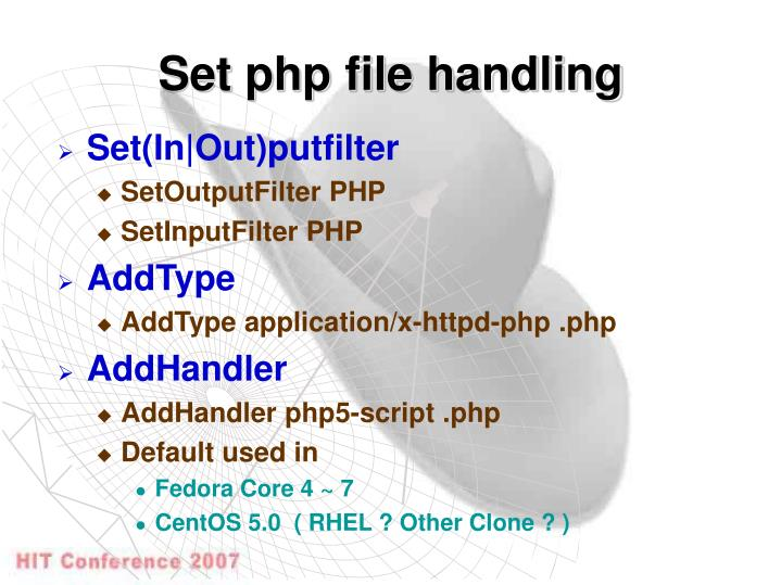 Set php file handling
