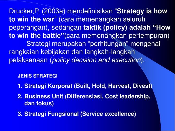 "Drucker,P, (2003a) mendefinisikan """