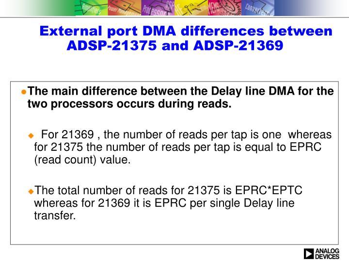 External port DMA differences between