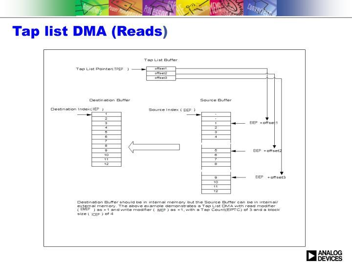 Tap list DMA (Reads