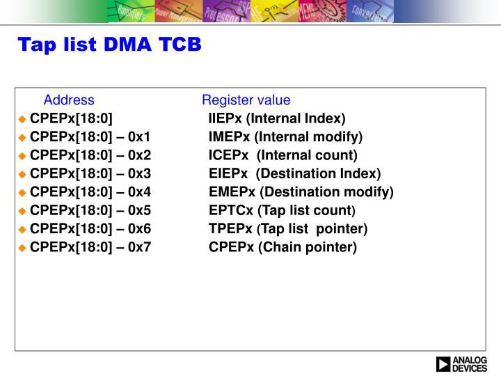 Tap list DMA TCB