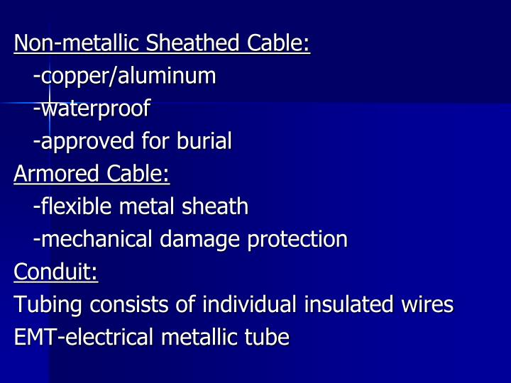 Non-metallic Sheathed Cable: