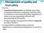 3 management of quality and food safety