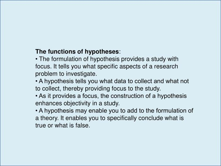 The functions of hypotheses