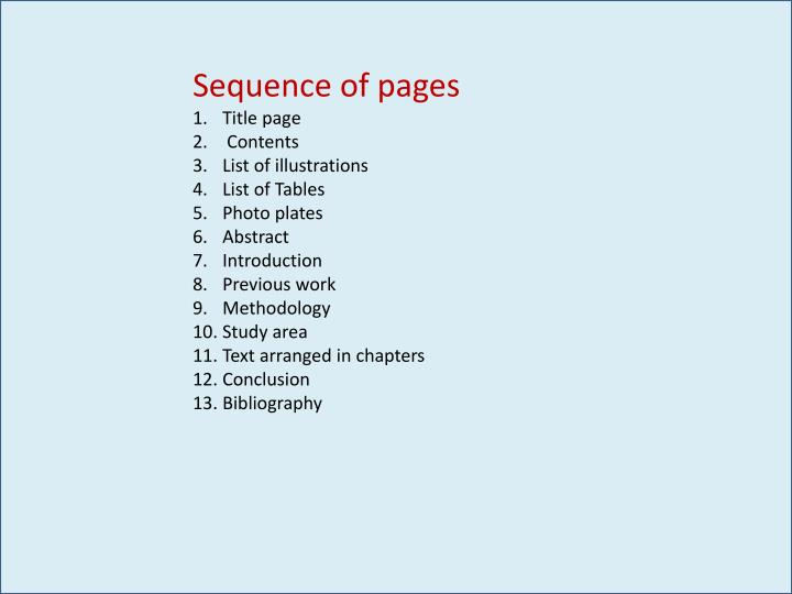Sequence of pages