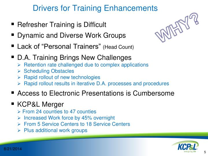 Drivers for Training Enhancements