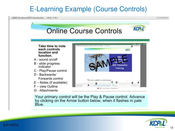 E-Learning Example (Course Controls)