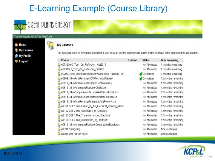 E-Learning Example (Course Library)
