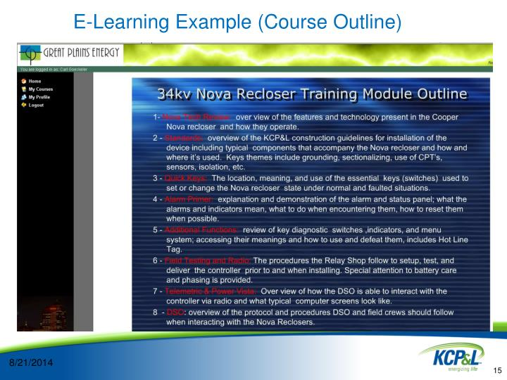 E-Learning Example (Course Outline)