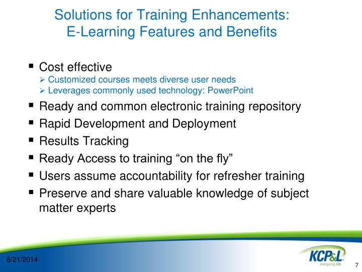 Solutions for Training Enhancements: