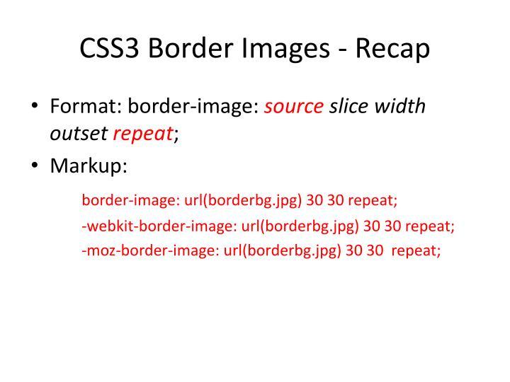 CSS3 Border Images - Recap