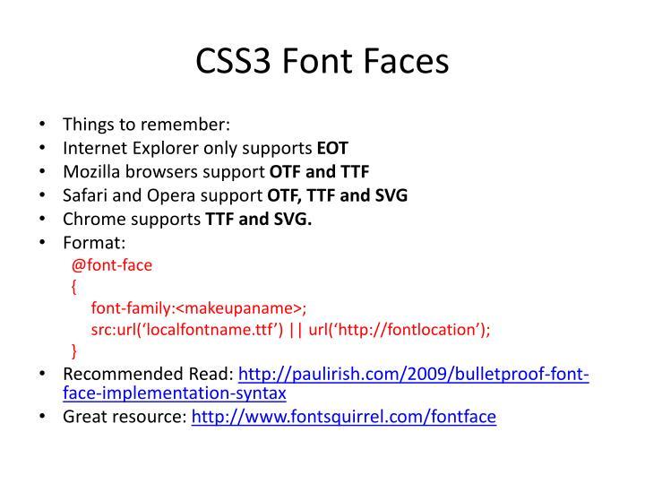 CSS3 Font Faces