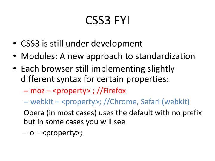 CSS3 FYI