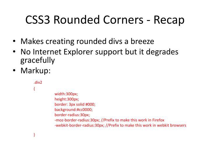 CSS3 Rounded Corners - Recap