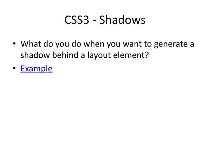 CSS3 - Shadows