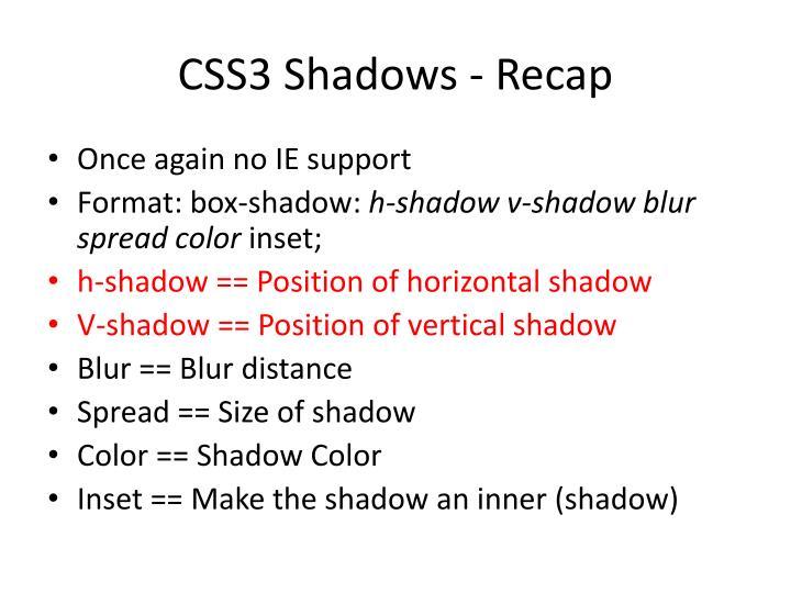 CSS3 Shadows - Recap