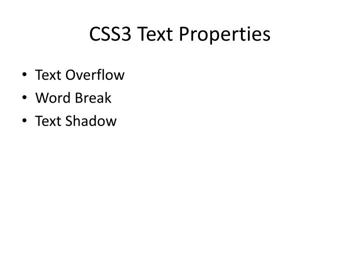 CSS3 Text Properties