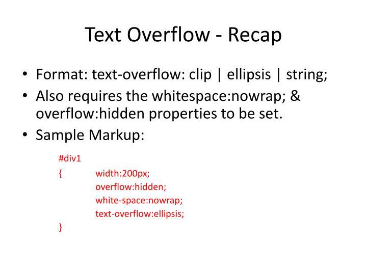 Text Overflow - Recap
