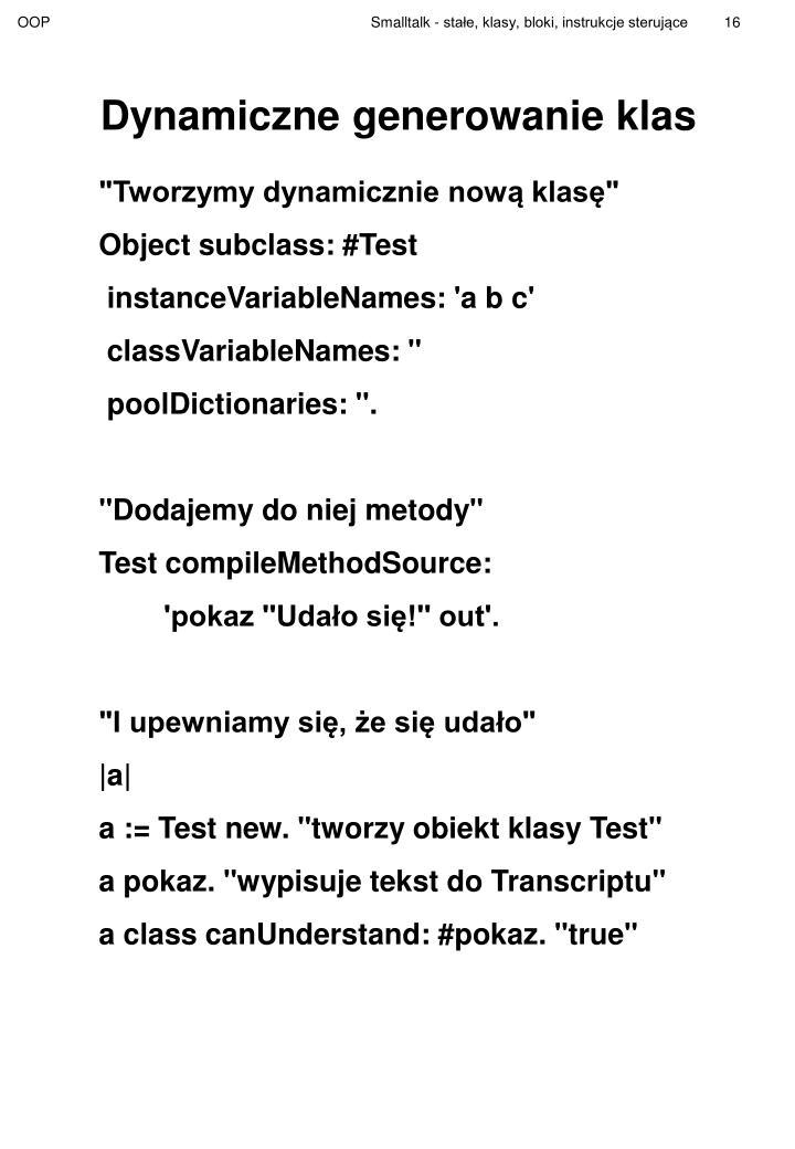Dynamiczne generowanie klas