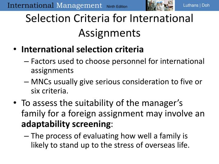 Selection Criteria for International Assignments