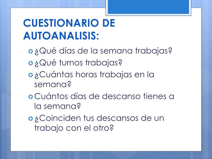 CUESTIONARIO DE AUTOANALISIS: