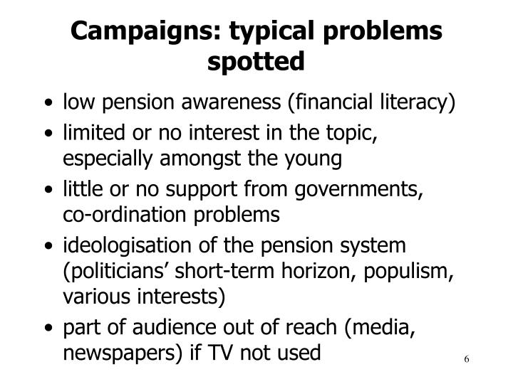 Campaigns: typical problems spotted