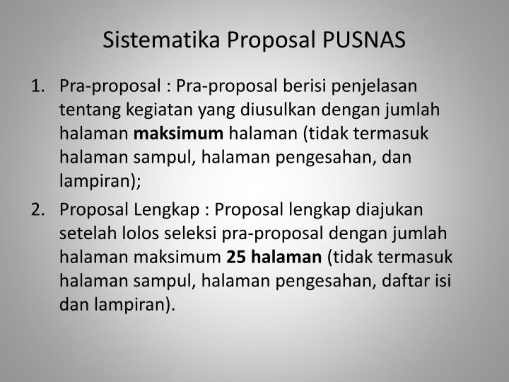 Sistematika Proposal PUSNAS