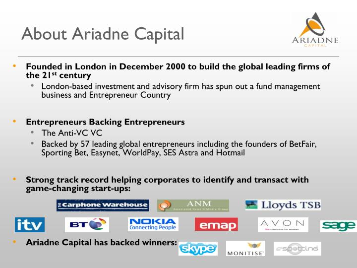 About Ariadne Capital