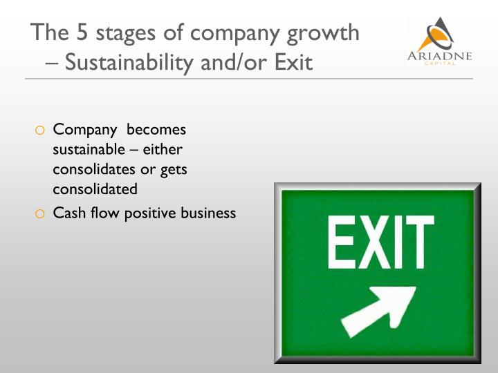The 5 stages of company growth – Sustainability and/or Exit