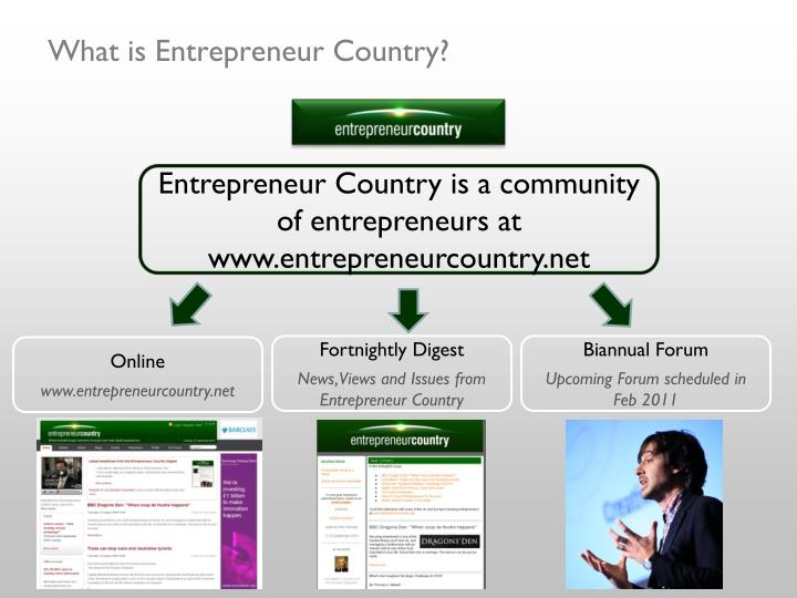 What is Entrepreneur Country?
