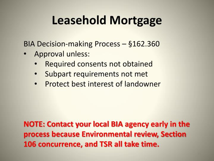 Leasehold Mortgage