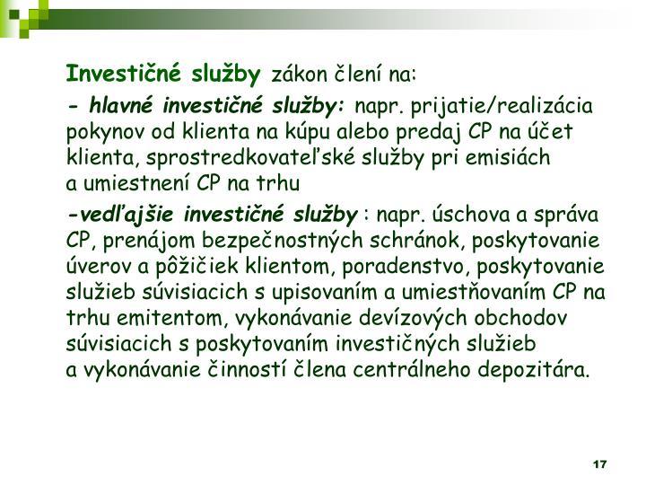 Investin sluby