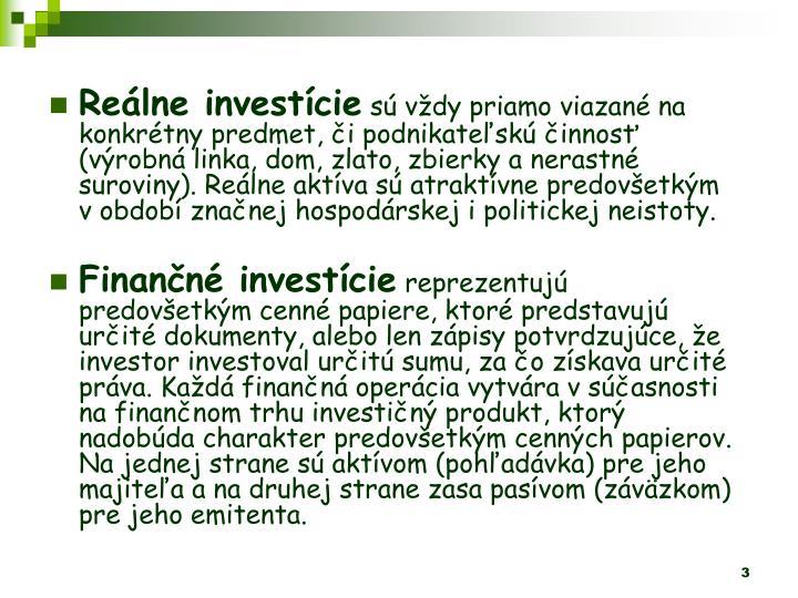 Relne investcie