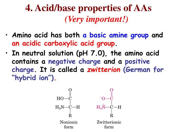 4. Acid/base properties of AAs