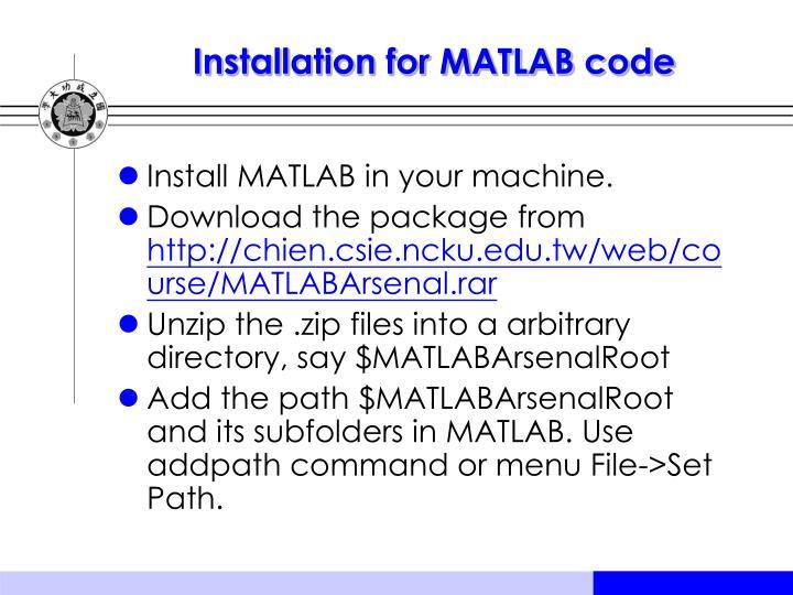 Installation for MATLAB code