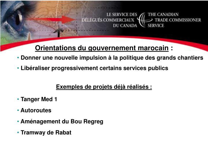 Orientations du gouvernement marocain