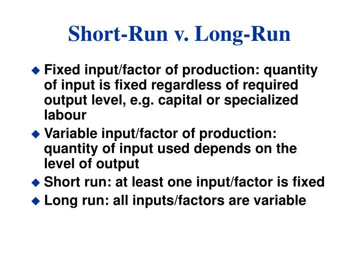 Short run v long run