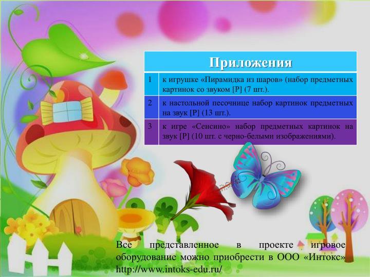 Все представленное в проекте игровое оборудование можно приобрести в ООО «