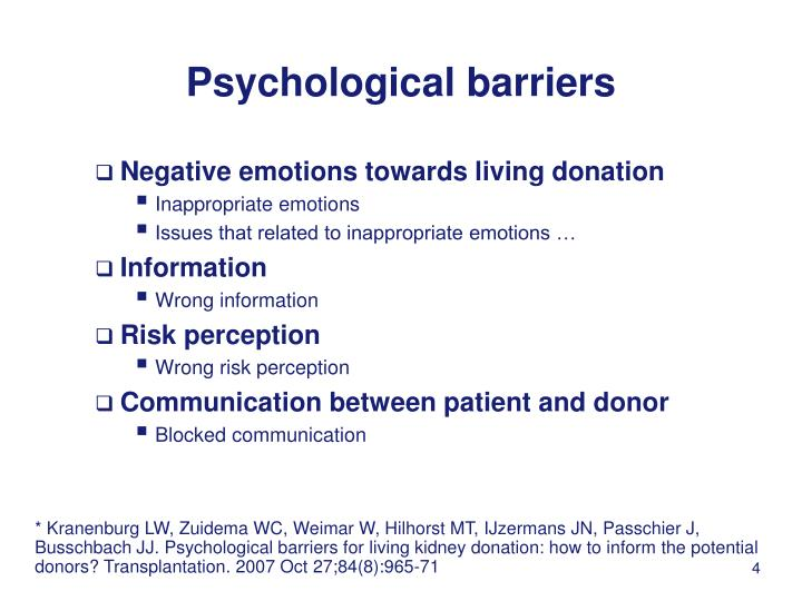 Psychological barriers
